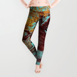 Old big tree in copper and turquoise Leggings