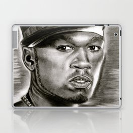 50 Cent in Black and White Laptop & iPad Skin
