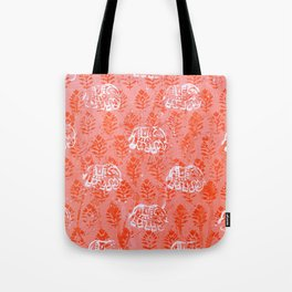 Elephant Pattern on Jaipur Pink Tote Bag