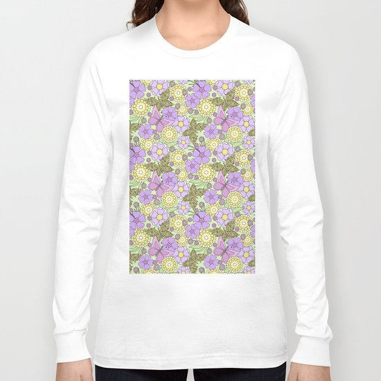 Bright floral pattern with butterflies. Long Sleeve T-shirt