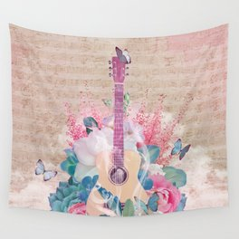 Floral Guitar Wall Tapestry