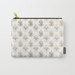 Vintage white faux gold floral damask Carry-All Pouch