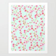 Cherry Blossom Pink Mint (for Mackenzie) Art Print