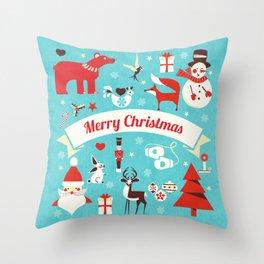 Christmas icons illustration Throw Pillow