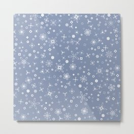 Blossoms & Berries - Colors: Blue Frost Metal Print