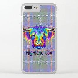 Vibrant Highland Cow on tartan digital art. Clear iPhone Case