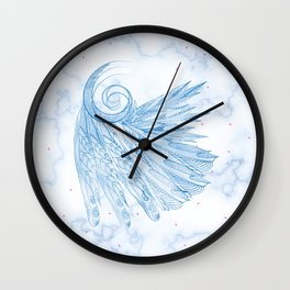 Beautiful Feathers on Blue Marble Design Wall Clock