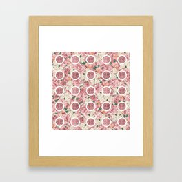 Double Happiness Symbol on Gentle Peony pattern Framed Art Print