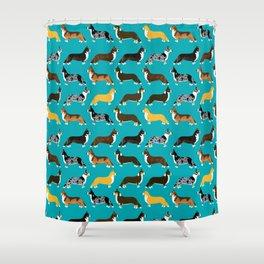 Corgi welsh corgi pattern print cute dog art pattern design pet portrait corgi puppy lovers fur baby Shower Curtain