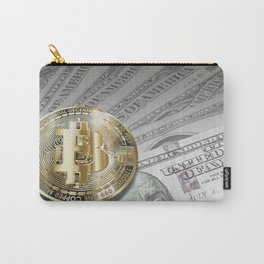 Bitcoin with dollar bills, cryptocurrency concept Carry-All Pouch