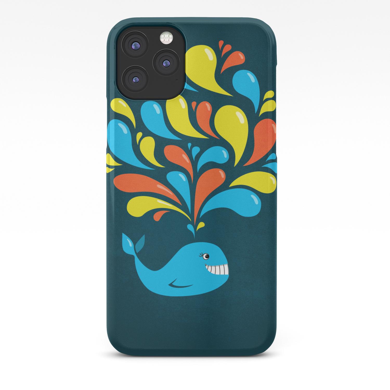 Dark Colorful Happy Cartoon Whale Iphone Case By Borianagiormova Society6