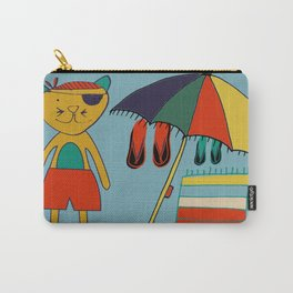cat at the beach blue Carry-All Pouch