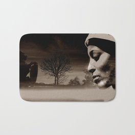 TALK TO THE LION... - sepia Bath Mat