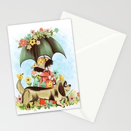 Rain on the green grass, Rain on the tree, Rain on the housetop, But not on me Stationery Cards