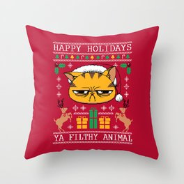 Ugly Holiday Sweater Cat Throw Pillow
