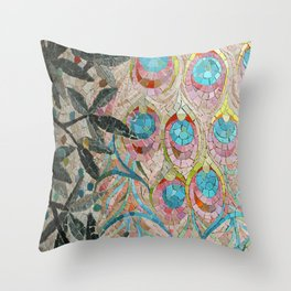 Peacock Pattern Mosaic art Throw Pillow