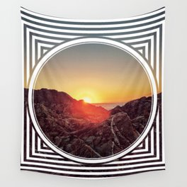 Peel Sunset  - line/circle graphic Wall Tapestry