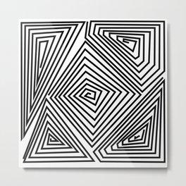 labirint black and wite design Metal Print