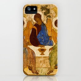 Holy Trinity Icon Byzantine Orthodox Rublev Gift for Priest Religious Artwork iPhone Case