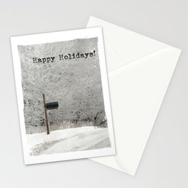 Happy Holidays Frosty Rural Morning Mailbox Stationery Cards