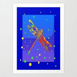 Orange Dragonfly Sun Spots Blue Abstract Art Art Print