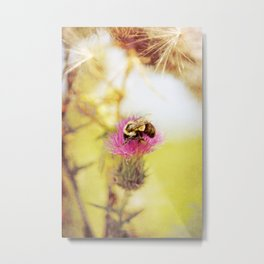 Bee on Purple Metal Print