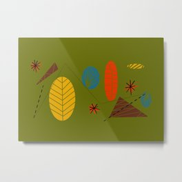 Olive Mid Modern Abstract Metal Print