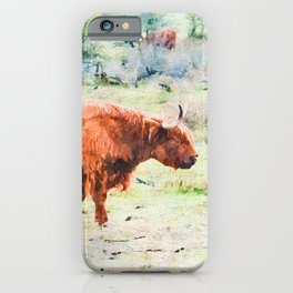 Highland cow watercolor painting #5 iPhone Case