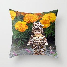 Little Leopard Girl Throw Pillow