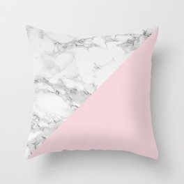Marble + Pastel Pink Throw Pillow