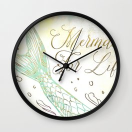 The Mermaid is Minty Wall Clock