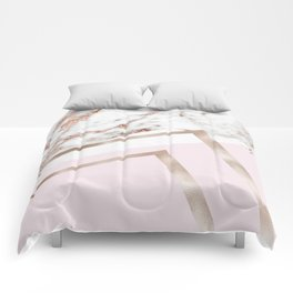 Geometric marble - luxe rose gold edition I Comforters