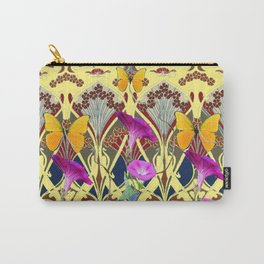 Decorative Cream Color & Fuchsia Morning Glories Floral Yellow Butterflies Carry-All Pouch