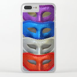 Colorful glitter masks Clear iPhone Case