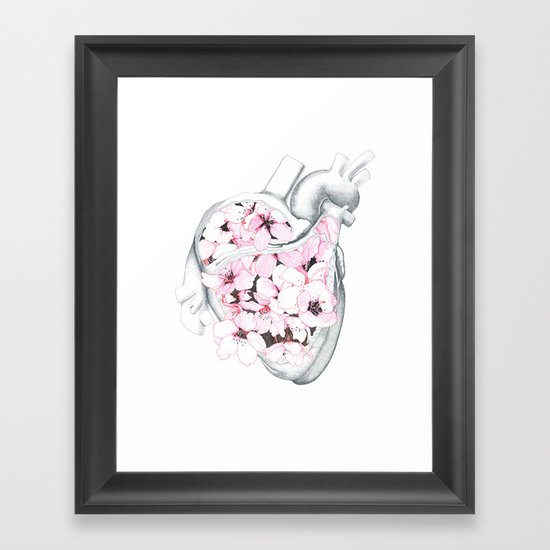 Blossom Burst Heart Framed Art Print