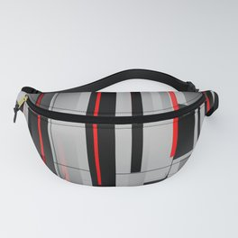 Off the Grid - Abstract - Gray, Black, Red Fanny Pack