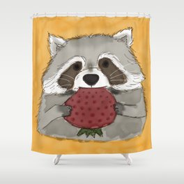 Strawberry Racoon Shower Curtain