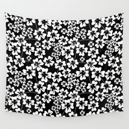 Floral black and white pattern Wall Tapestry