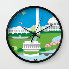 Washington, D.C. - Skyline Illustration by Loose Petals Wall Clock