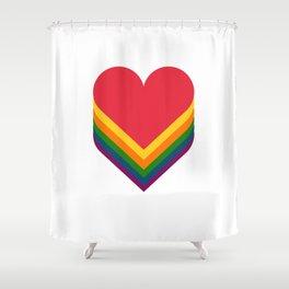 Heart rainbow Shower Curtain