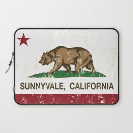 Sunnyvale California Republic Flag Distressed Laptop Sleeve