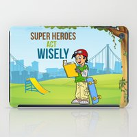 super heroes iPad Cases featuring Super Heroes Act Wisely by youngmindz
