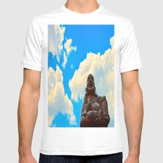 Happy Buddha on a Beautiful Day Mens Fitted Tee MEDIUM White
