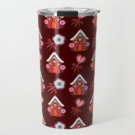 Gingerbread houses, hearts candy lollipops. Retro vintage cozy Christmas pattern Travel Mug