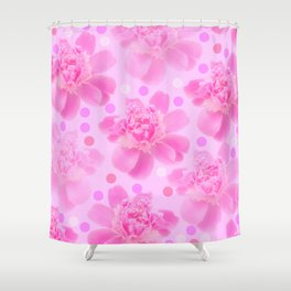 Cute and girly - pink flowers and dots - pink tones - #society6 #buyart Shower Curtain