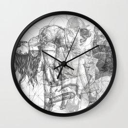 SOLVE ET COAGULA. New Composition. Ladies. Damascus. Triptych. Part 1. Illustration. INK ART. Yury F Wall Clock