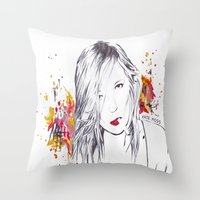 kate moss Throw Pillows featuring Kate Moss by Megan Sheridan