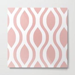 Pretty Ogee Pattern 374 Dusty Rose Metal Print