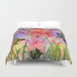 Painterly Hummingbirds And Flowers Duvet Cover