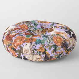 Dog and Floral Pattern Floor Pillow
